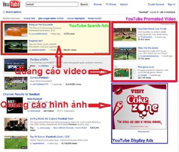 Ví dụ về quảng cáo trên youtube
