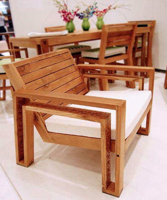 Phòng khách không thể thiếu sofa gỗ tự nhiên