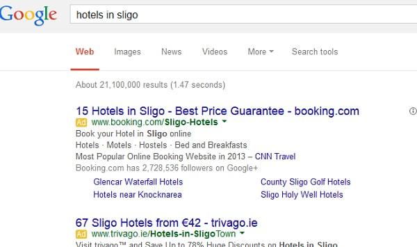 Hiển thị quảng cáo Google trên kết quả tìm kiếm của Google