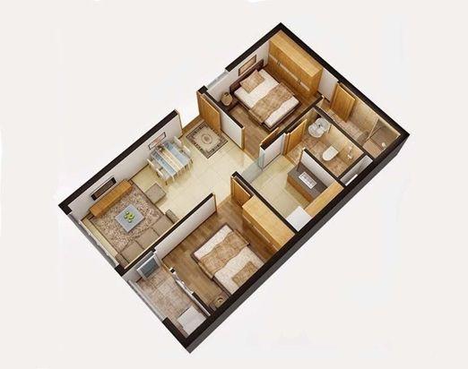 Minh hoạ căn hộ có 2 phòng ngủ của dự án