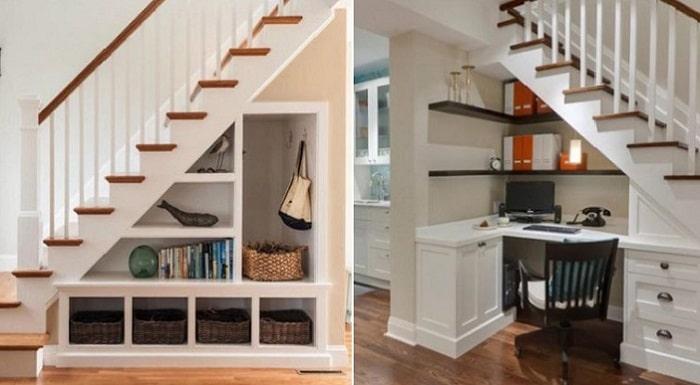 Sử dụng gầm cầu thang làm giá sách, bàn làm việc