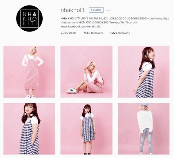 Ví dụ về tài khoản Instagram bán quần áo