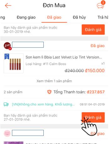 Đánh giá sản phẩm trên Shopee