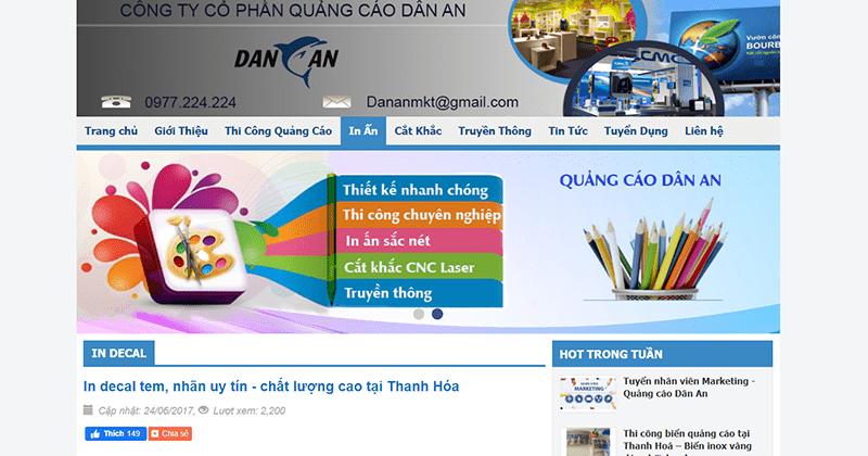 Website Công ty quảng cáo Dân An