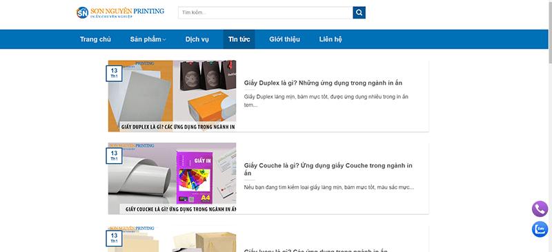 Website Công ty Cổ phần In Sơn Nguyên