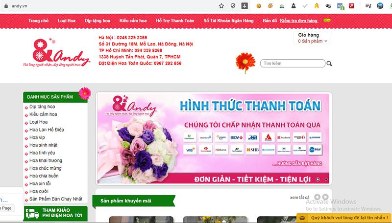 Shop hoa Andy có kinh nghiệm 20 năm cung cấp dịch vụ hoa tươi Việt Nam