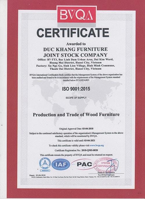 Chứng chỉ ISO cho các sản phẩm được sản xuất bởi Nội thất Đức Khang